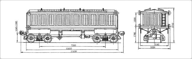 Масса вагона (тара) - 26,5 т. Грузоподъёмность - 60 т. 4-осный крытый вагон с поднимающимся кузовом для аппатитового...
